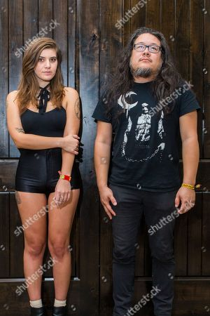 Best Coast (Bethany Cosentino and Bobb Bruno) pose backstage during the Life is Beautiful festival on in Las Vegas