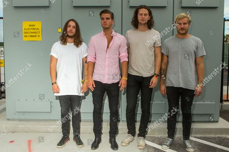 David Antonsson, from left, JJ Julius Son, Rubin Pollock and Daniel Kristjansson of Kaleo pose backstage during the Life is Beautiful festival on in Las Vegas