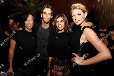 Stephen Gan, Vladimir Restoin-Roitfeld, Carine Roitfeld, and Kate Upton attend the after party for the New York premiere of Mademoiselle C presented by Cohen Media and sponsored by Absolute Elyx, LoveGold, and The Hollywood Reporter at the Four Season Restaurant on in New York