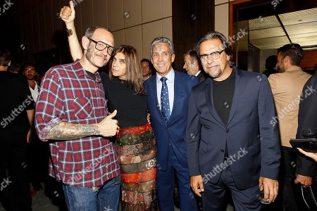 Vladimir Restoin-Roitfeld, Carine Roitfeld, Charles Cohen, Sante D'Orazio attend the after party for the New York premiere of Mademoiselle C presented by Cohen Media and sponsored by Absolute Elyx, LoveGold, and The Hollywood Reporter at the Four Season Restaurant on in New York
