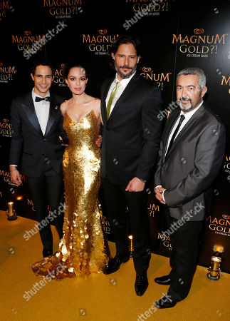 From left, couture designer Zac Posen, actress Caroline Correa, actor Joe Manganiello and director Jon Cassar arrive on the gold carpet of the â?˜As Good As Gold' premiere, a new short film starring Joe Manganiello that celebrates the U.S. arrival of MAGNUM Gold?! Ice Cream. The film debuted during the Tribeca Film Festival in New York. Visit MagnumIceCream.com for more information
