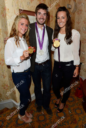 Left to right, Double Olympic gold medallist Laura Trott, Olympic silver medallist Zac Purchase, and Olympic gold medallist, Dani King pose during the interval of the 'BBC Children in Need' gala performance of 'Mamma Mia' on in London, UK