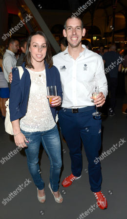 Beth Tweddle and Etienne Stott attend the after party following the 'BBC Children in Need' gala performance of 'Mamma Mia' on in London, UK