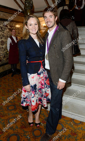 Olympic silver medallist Zac Purchase with guest is seen arriving for the 'BBC Children in Need' gala performance of 'Mamma Mia' on in London, UK