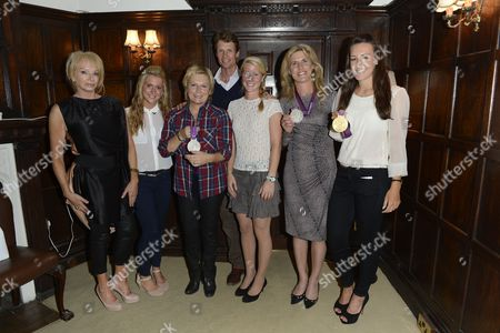 Left to right, Judy Craymer, Laura Trott, Jennifer Saunders, William Fox-pitt, Laura Bechtolsheimer, Tina Cook and Dani Kingpose during the interval for the 'BBC Children in Need' gala performance of 'Mamma Mia' on in London, UK