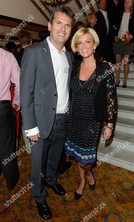 Caroline Feraday and Mark Lewis seen arriving for the 'BBC Children in Need' gala performance of 'Mamma Mia' on in London, UK
