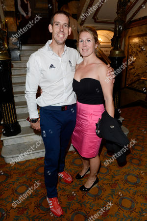 Olympic gold medallist Etienne Stott and Georgie Preston arriving for the 'BBC Children in Need' gala performance of 'Mamma Mia' on in London, UK