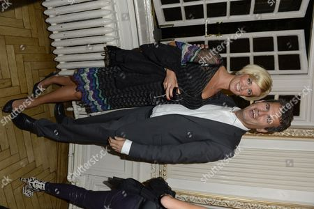 Caroline Feraday and Mark Lewis pose during the interval of the 'BBC Children in Need' gala performance of 'Mamma Mia' on in London, UK