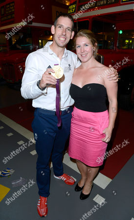 Olympic gold medallist Etienne Stott and Georgie Preston attend the after party following the 'BBC Children in Need' gala performance of 'Mamma Mia' on in London, UK
