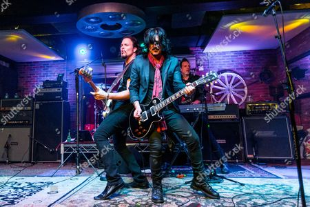 "Sean McNabb, left, and Gilby Clarke perform during the ""Music On A Mission"" benefit concert held at Lucky Strike Live - Hollywood on in Los Angeles"