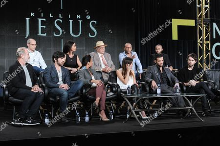 Stock Picture of From left, front row, Kelsey Grammer, Eion Macken, Emmanuelle Chriqui, Stephanie Leonidas, Haaz Sleiman, Joe Doyle, from left, back row, Teri Weinberg, David Zucker, Walon Green, Chris Ryman, and Alexis Rodney on stage at National Geographic Channel 2015 Winter TCA, in Pasadena, Calif