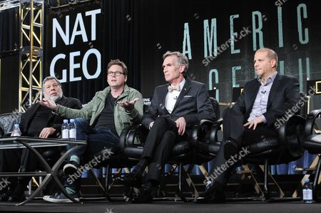 From left, Steve Wozniak, Biz Stone, Bill Nye, and Stephen David on stage at National Geographic Channel 2015 Winter TCA, in Pasadena, Calif