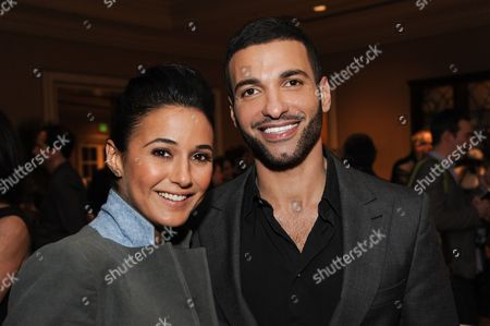 Emmanuelle Chriqui, left, and Haaz Sleiman at National Geographic Channel 2015 Winter TCA, in Pasadena, Calif