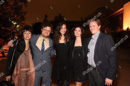From left, Sonia Boyajiah, Alexander Perls, Bettina Korek, Elizabeth Chandler and Otis Chandler pose during the 100th Anniversary Gala at the Natural History Museum of Los Angeles County, in Los Angeles, Calif