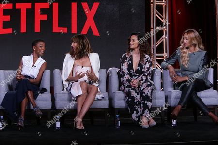 Stock Image of Samira Wiley, Jackie Cruz, Dacha Polanco and Laverne Cox seen at Netflix 2016 Winter TCA, in Pasadena, CA