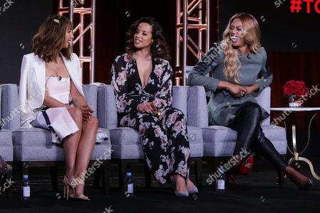 Stock Image of Jackie Cruz, Dacha Polanco and Laverne Cox seen at Netflix 2016 Winter TCA, in Pasadena, CA