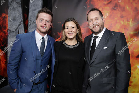 "Hugo Johnstone-Burt, Veronika Kwan Vandenberg, President of Distribution at Warner Bros Pictures International, and Producer Beau Flynn seen at New Line Cinema presents the Los Angeles World Premiere of ""San Andreas"" at TCL Chinese Theatre, in Hollywood, CA"