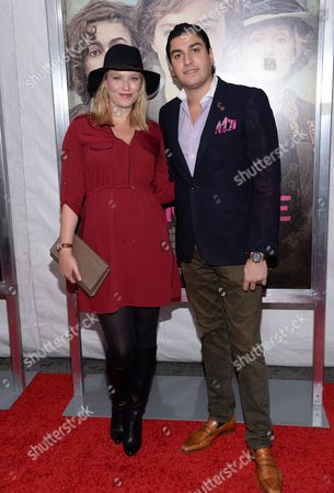 """Actress Kiera Chaplin, left, and Oliver James attend the premiere for """"Suffragette"""" at the Paris Theatre, in New York"""