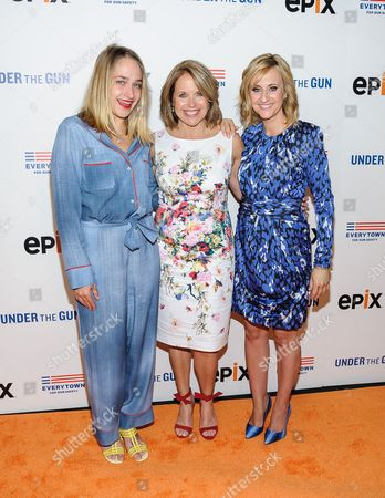 """Jemima Kirke, Katie Couric, and Stephanie Soechtig attend the premiere of """"Under The Gun"""", hosted by The Cinema Society,, in New York"""
