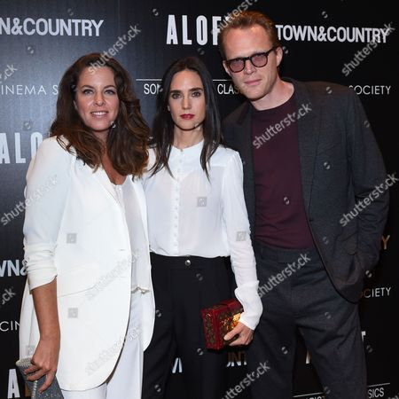 """Director Claudia Llosa, left, actress Jennifer Connelly, middle, and Paul Bettany attend a special screening of """"Aloft"""" hosted by The Cinema Society and Town & Country at the Tribeca Grand Hotel, in New York"""