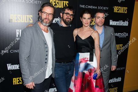 "Guy Pearce, left, Andrew Bujalski, Cobie Smulders and Kevin Corrigan attend a special screening of Magnolia Pictures' ""Results"" hosted by The Cinema Society and Women's Health, in New York"