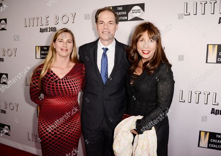 """Edie Ortenberg, Tom Ortenberg, CEO of Open Road Films and Creative Coalition CEO Robin Bronk seen at Open Road Films Los Angeles Premiere of """"Little Boy"""" at Regal Cinemas LA Live Stadium 14 on Tuesday, April 14], 2015, in Los Angeles, CA"""