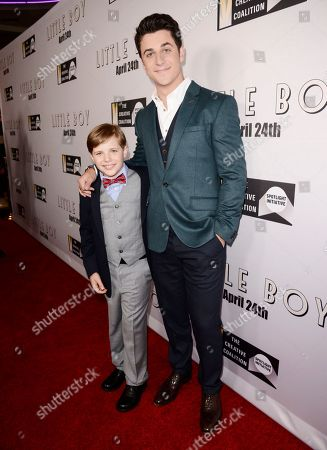 """Jakob Salvati and David Henrie seen at Open Road Films Los Angeles Premiere of """"Little Boy"""" at Regal Cinemas LA Live Stadium 14 on Tuesday, April 14], 2015, in Los Angeles, CA"""