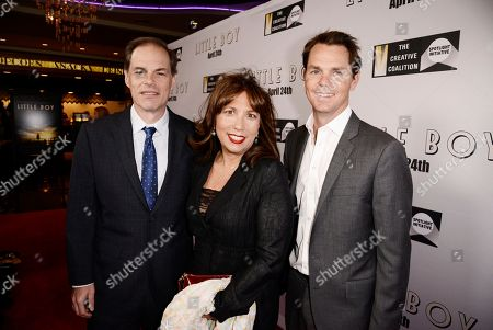 """Tom Ortenberg, CEO of Open Road Films, Creative Coalition CEO Robin Bronk and Jason Cassidy Chief Marketing Officer at Open Road Films seen at Open Road Films Los Angeles Premiere of """"Little Boy"""" at Regal Cinemas LA Live Stadium 14 on Tuesday, April 14], 2015, in Los Angeles, CA"""
