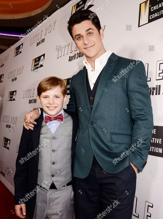 """Stock Image of Jakob Salvati and David Henrie seen at Open Road Films Los Angeles Premiere of """"Little Boy"""" at Regal Cinemas LA Live Stadium 14 on Tuesday, April 14], 2015, in Los Angeles, CA"""