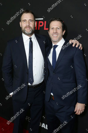 Producer Keith Redmon and Producer Bard Dorros seen at Open Road's 'Triple 9' Los Angeles Premiere at Regal L.A. Live, in Los Angeles, CA