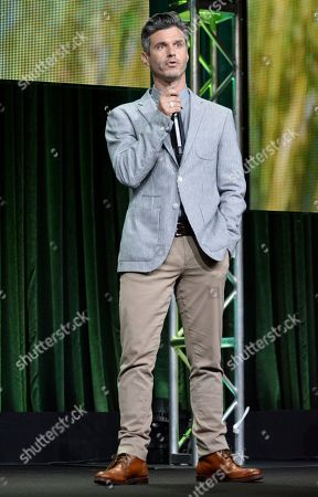 Evan Shapiro, president of Pivot, speaks on stage at the Pivot 2014 Summer TCA at the Beverly Hilton Hotel, in Beverly Hills, Calif