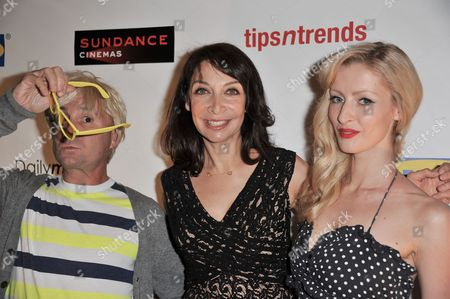 """Michael Irpino, left, Illeana Douglas and Hannah Cowley attend Easy to Assemble's premiere of """"This Side Up"""" at Sundance Sunset Cinemas, in Los Angeles"""