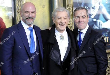 "Actors Graham McTavish, left, Sir Ian McKellan and James Nesbitt attend the premiere of ""The Hobbit: An Unexpected Journey"" at the Ziegfeld Theatre on in New York"
