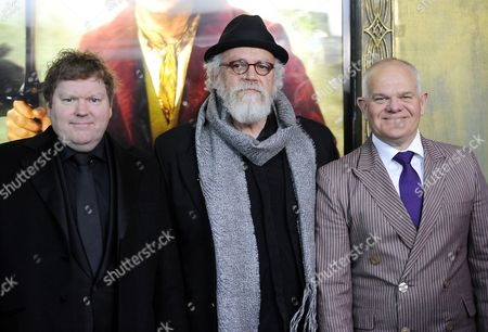 """Actor Stephen Hunter, left, John Callen and Mark Hadlow attend the premiere of """"The Hobbit: An Unexpected Journey"""" at the Ziegfeld Theatre on in New York"""