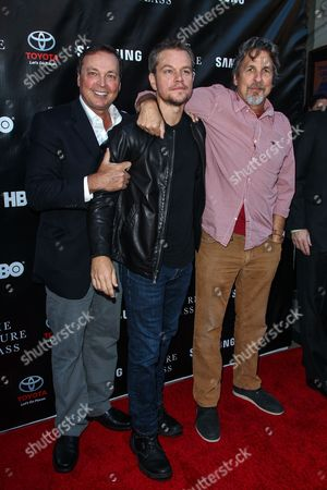 From left, Bobby Farrelly, Matt Damon, and Peter Farrelly attend The Project Greenlight Season 4 premiere of 'The Leisure Class' at The Theatre At The Ace Hotel on in Los Angeles