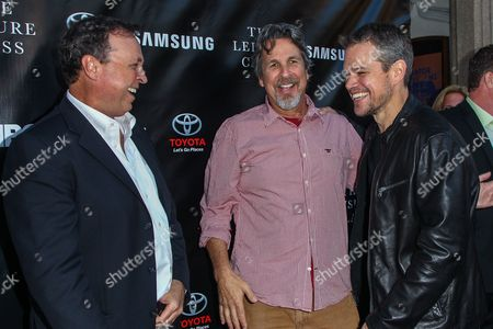 From left, Bobby Farrelly, Peter Farrelly, and Matt Damon attend The Project Greenlight Season 4 premiere of 'The Leisure Class' at The Theatre At The Ace Hotel on in Los Angeles
