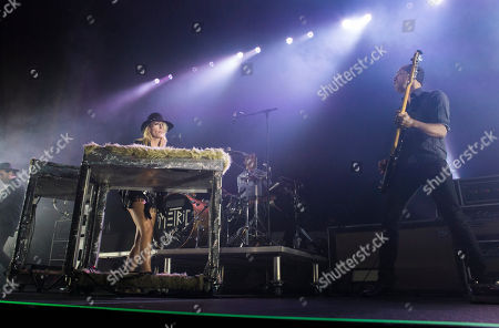 Stock Image of Emily Haines, James Shaw, Joshua Winstead and Joules Scott-Key with Metric performs during the Radio 105.7 Holiday Spectacular at the Tabernacle, in Atlanta