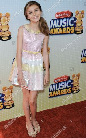 Stock Image of Genevieve Hannelius arrives at the Radio Disney Music Awards at the Nokia Theatre on in Los Angeles