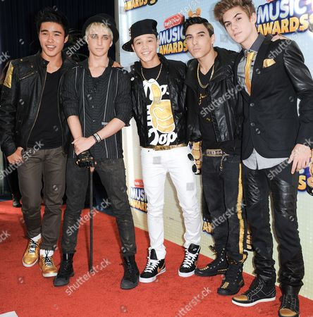 Stock Photo of From left, Will Jay, Dalton Rapattoni, Dana Vaughns, Gabriel Morales, and Cole Pendery arrive at the Radio Disney Music Awards at the Nokia Theatre on in Los Angeles