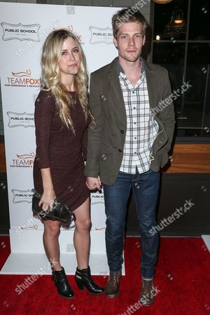 Kathryn Wahl and Hunter Parrish attend the Raising The Bar To End Parkinson's event at Public School 818 on in Los Angeles