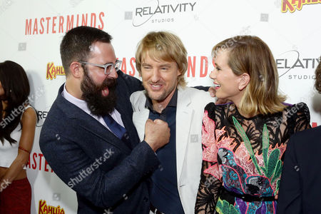 """Director Jared Hess, Owen Wilson and Kristen Wiig seen at Relativity Studios Presents """"Masterminds"""" Los Angeles Premiere at TCL Chinese Theatre, in Hollywood"""
