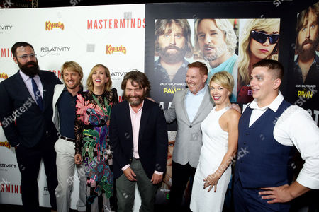 """Director Jared Hess, Owen Wilson, Kristen Wiig, Zach Galifianakis, Ryan Kavanaugh, CEO of Relativity Media, and Mary Elizabeth Ellis seen at Relativity Studios Presents """"Masterminds"""" Los Angeles Premiere at TCL Chinese Theatre, in Hollywood"""
