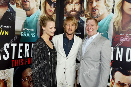 """Jessica Roffey, Owen Wilson and Ryan Kavanaugh, CEO of Relativity Media, seen at Relativity Studios Presents """"Masterminds"""" Los Angeles Premiere at TCL Chinese Theatre, in Hollywood"""