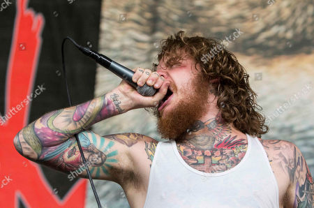 Mike Hranica with The Devil Wears Prada performs during the Rockstar Energy Drink Mayhem Festival 2015 at Aaron's Amphitheatre, in Atlanta