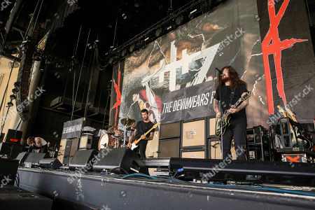 Mike Hranica, Jeremy DePoyster, Andy Trick and Daniel Williams with The Devil Wears Prada performs during the Rockstar Energy Drink Mayhem Festival 2015 at Aaron's Amphitheatre, in Atlanta