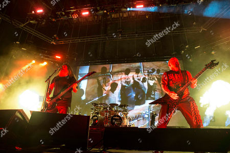 Tom Araya, Kerry King, Paul Bostaph and Gary Holt with Slayer performs during the Rockstar Energy Drink Mayhem Festival 2015 at Aaron's Amphitheatre, in Atlanta