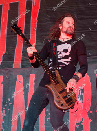 Kyle Sanders with Hellyeah performs during Rockstar Energy Drink Mayhem Festival 2015 at Aaron's Amphitheatre, in Atlanta
