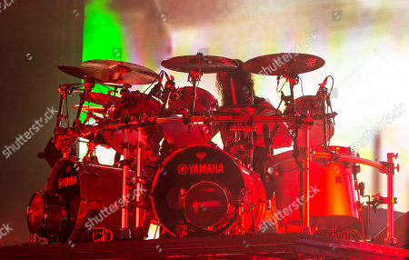 Paul Bostaph with Slayer performs during the Rockstar Energy Drink Mayhem Festival 2015 at Aaron's Amphitheatre, in Atlanta