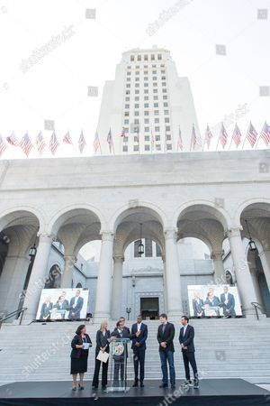 Shawn Carter From left, Gloria Molina, County Supervisor, Elise Buik, President and CEO of United Way, Herb Wesson, Council President, Mayor Eric Garcetti, Shawn 'Jay-Z' Carter, Brian Perkins, Vice President of Budweiser, and Michael Rapino, President and CEO of Live Nation Entertainment, announce the Made in America Festival from the steps of City Hall on in Los Angeles