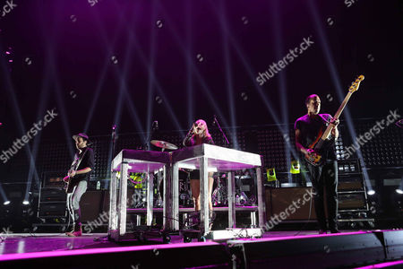 Emily Haines, James Shaw, Joshua Winstead and Joules Scott-Key with Metric performs as the opener for Imagine Dragons during the Smoke & Mirrors Tour at Philips Arena, in Atlanta